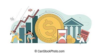 Vector illustration. Debt, financial liabilities, bankruptcy crisis bank debt