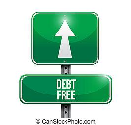 debt free road sign concept illustration