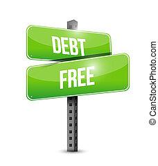 debt free street sign concept illustration