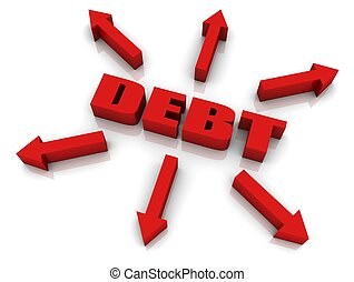 "Debt Growth - ""DEBT"" 3D text with arrows pointing outwards...."