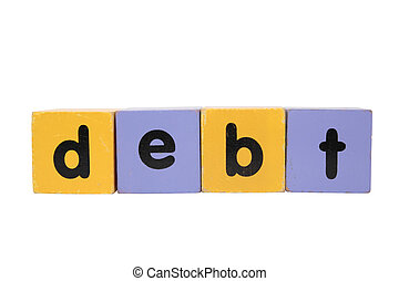 debt in toy play block letters with clipping path on white
