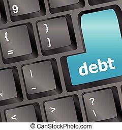 debt key in place of enter key - business concept vector illustration