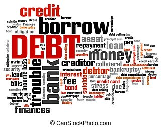 Debt keywords - finance issues and concepts tag cloud illustration. Word cloud collage concept.