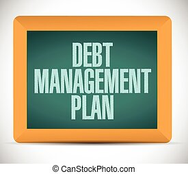 debt management plan sign illustration design over a white ...
