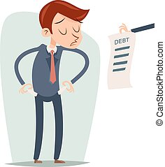 Debt Out of Money Businessman Cartoon Character Looking Bill Icon Retro  Design Vector Illustration