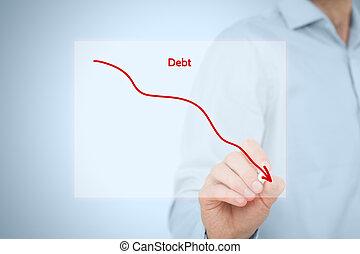 Debt reduction business concept. Businessman draw simple...