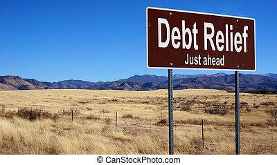 Debt Relief brown road sign