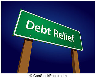 Debt Relief Green Road Sign Vector Illustration on a Radiant...