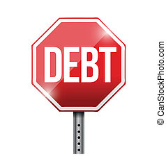 debt road sign illustration design