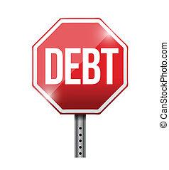 debt road sign illustration design