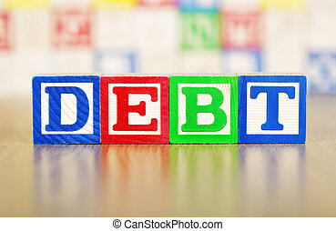 Debt Spelled Out in Alphabet Building Blocks