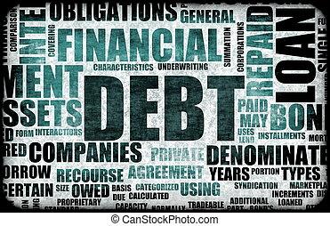 Debt - Financial Debt as a Abstract Background Concept