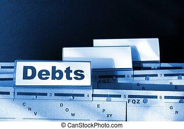 debt - dept word on business folder showing finance or...