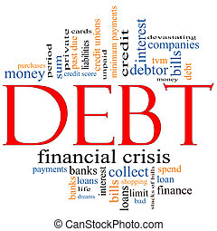 Debt Word Cloud Concept with great terms such as sum, money...