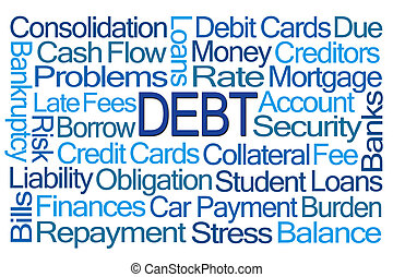 Debt Word Cloud on White Background