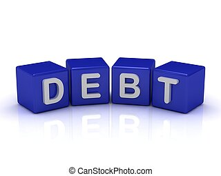 DEBT word on blue cubes