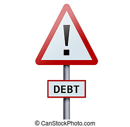 Debt word on road sign