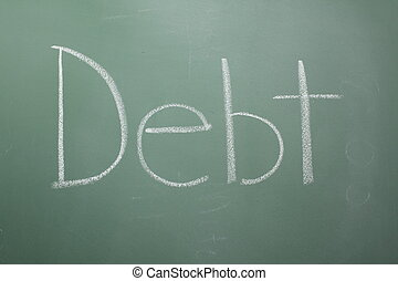 Debt written on chalkboard