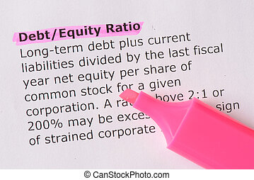 Debt/Equity Ratio words highlighted on the white background...