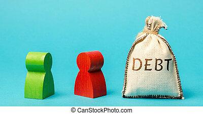 debts., 拒否, borrower., 2, お金, ビジネス, 袋, 負債, リターン, 換金, 地位, 貸し主, debt., restructuring., finance., 詳細, ビジネスマン, 単語, discussion.