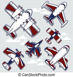 dec, vliegtuigen, kinderachtig, spotprent