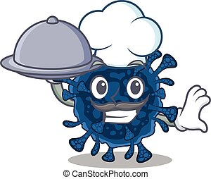 Decacovirus as a chef cartoon character with food on tray