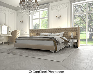 bedroom - decadent bedroom in a classic room, 3D RENDERRING