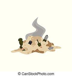 decadere, immondizia, illustrazione, ambientale, vettore, mucchio, fondo, problema, bianco, inquinamento