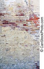 decaimiento, pared, vetical, plano de fondo, mezclado, ladrillo