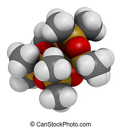 Decamethylcyclopentasiloxane (D5) molecule. Cyclic silicone...