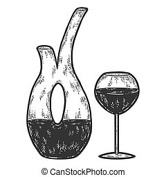 Decanter and glass of wine. Sketch scratch board imitation coloring. Engraving vector illustration coloring