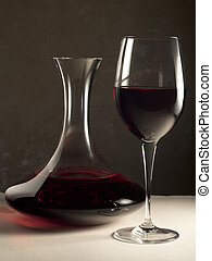 Decanter and Glass with Red Wine