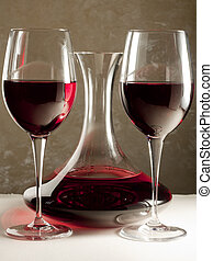 Decanter and Glasses with Red Wine