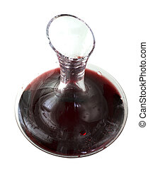 Decanter hal filled by red wine, isolated over white background