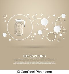 Decanter Icon on a brown background with elegant style and modern design infographic. Vector