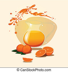 decanter of orange juice background. Splash.