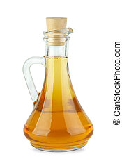 Decanter with apple vinegar isolated on the white background...
