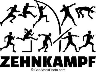 Decathlon silhouette of athletics german