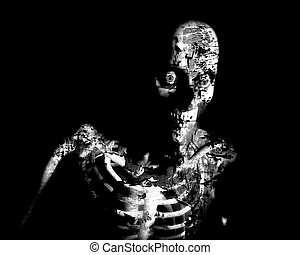 A conceptual Halloween image of a decaying zombie.