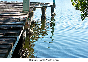 decaying wooden pier in water