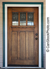 Decco glassed stained wood door