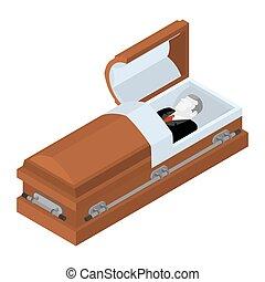Deceased in coffin. Dead man lay in wooden casket. Corpse in...