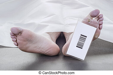 deceased man with a bar code on his toe tag, covered in a ...
