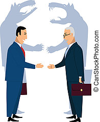 Two smiling businessman shaking hands, wolves shadows on the background, vector cartoon