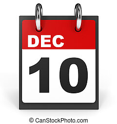 December 10. Calendar on white background.