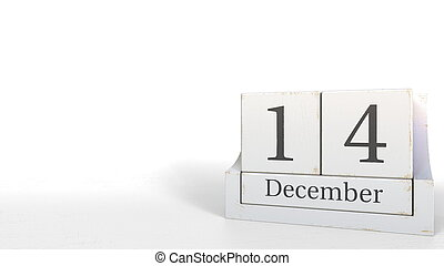 December 14 date on wood bricks calendar. 3D rendering