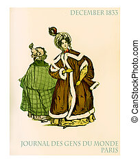 December 1833, outdoors French fashion - Paris winter...