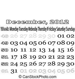 December 2012 monthly calendar