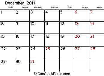 December 2014 - Blank Calendar of December, 2014