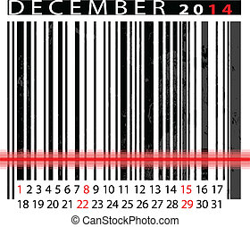 DECEMBER 2014 Calendar, Barcode Design. vector illustration